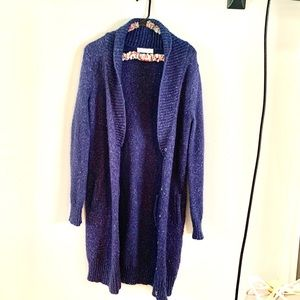 Kersh Long Cozy Poly-Wool Cardigan w Pockets